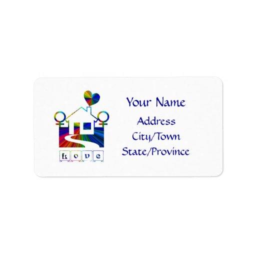 Lesbian rainbow home- LOVE Custom Address Label