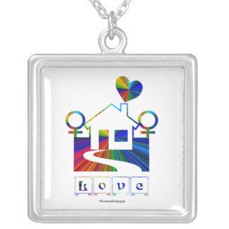 Lesbian rainbow home- LOVE Square Pendant Necklace