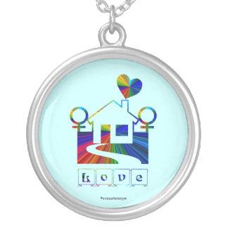 Lesbian rainbow home- LOVE Round Pendant Necklace