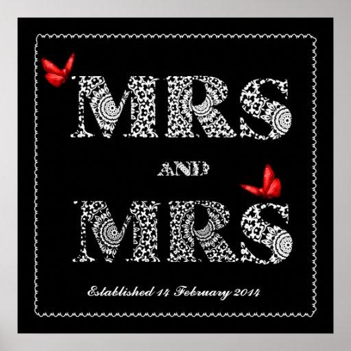 Lesbian Same Gender Wedding Gift  Lace Word Art Poster