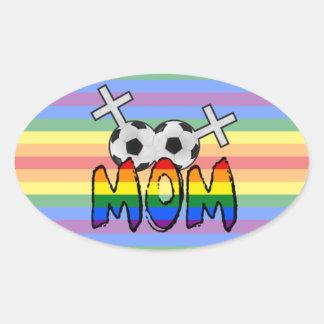 Lesbian Soccer Mom w rainbow Oval Sticker