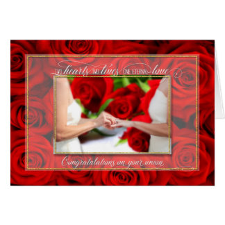 Lesbian Union Congratulations - Red Rose Theme Card