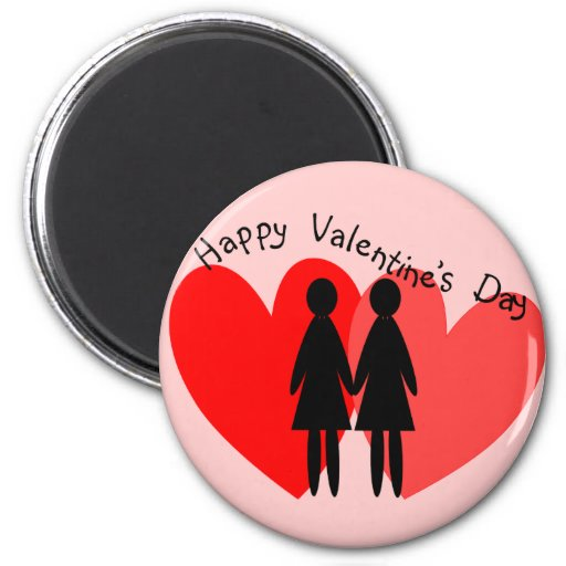 Lesbian Valentine Cards & Gifts 2 Inch Round Magnet