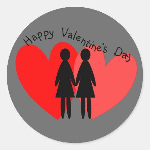 Lesbian Valentine Cards & Gifts Classic Round Sticker