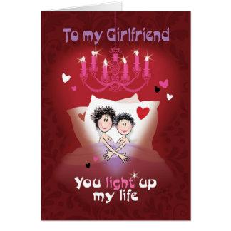 Lesbian Valentine, Girlfriend, Fun Couple in Bed Card