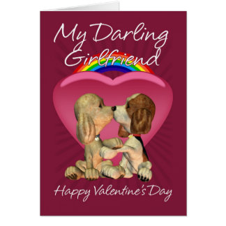 Lesbian Valentine's Day Card With Two Kissing Pupp