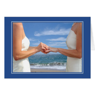 Lesbian Wedding Anniversary on the Beach Card
