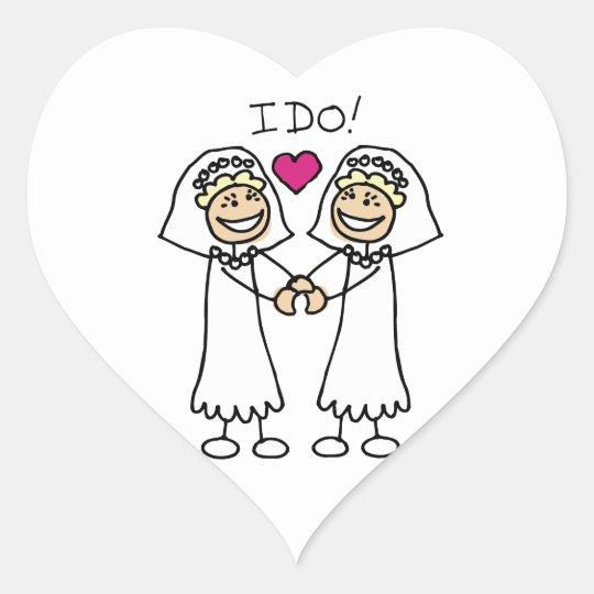 Lesbian Wedding Bridal Heart Sticker