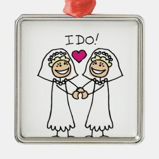 Lesbian Wedding Bridal Square Metal Christmas Ornament