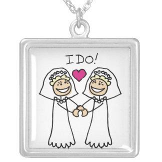 Lesbian Wedding Bridal Silver Plated Necklace