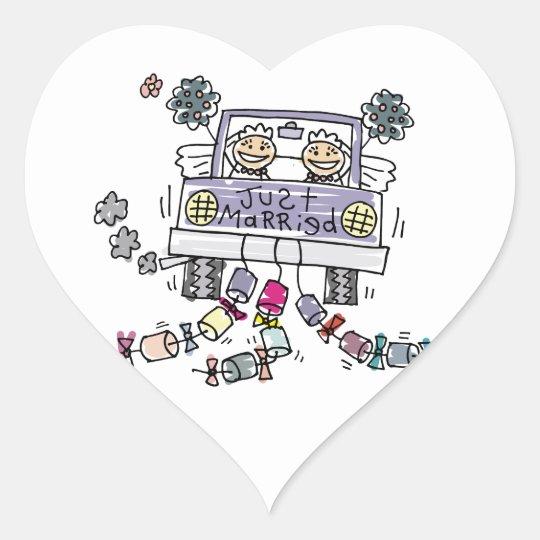 Lesbian Wedding Brides Heart Sticker
