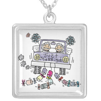 Lesbian Wedding Brides Silver Plated Necklace