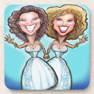 Lesbian Wedding Cake Dolls Beverage Coaster