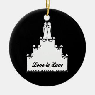LESBIAN WEDDING CAKE LOVE Double-Sided CERAMIC ROUND CHRISTMAS ORNAMENT