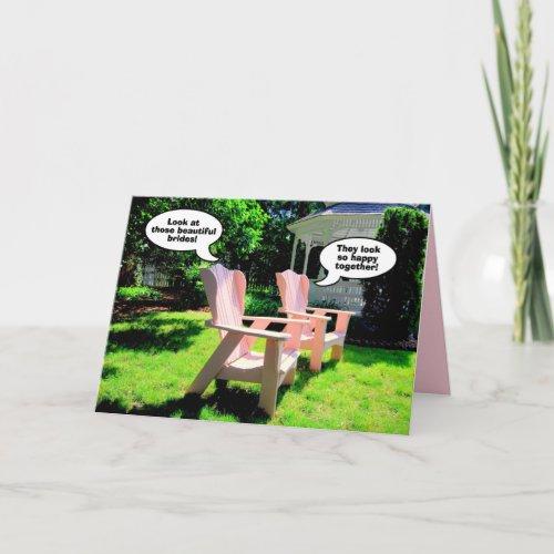 Lesbian Wedding Congratulations, Pink Chairs Card