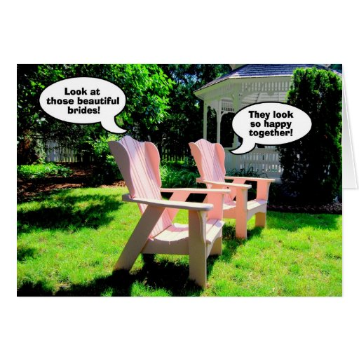 Lesbian Wedding Congratulations, Pink Chairs Greeting Cards