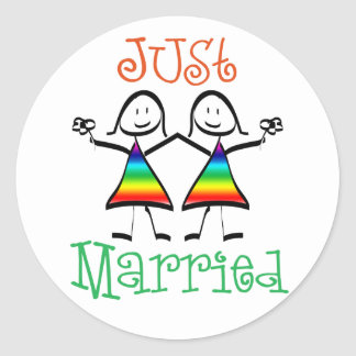 Lesbian Wedding Favors Round Sticker
