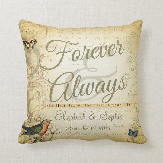 Lesbian Wedding Forever and Always Bird Butterfly Throw Pillowcom