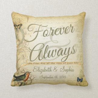 Lesbian Wedding Forever and Always Bird Butterfly Throw Pillow