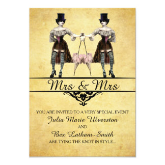 Lesbian Wedding - Gothic Steampunk Style 5x7 Paper Invitation Card