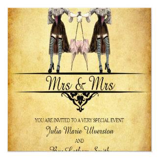 Lesbian Wedding - Gothic Steampunk Style Invitation