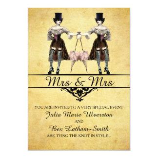 """Lesbian Wedding - Gothic Steampunk Style 5"""" X 7"""" Invitation Card"""