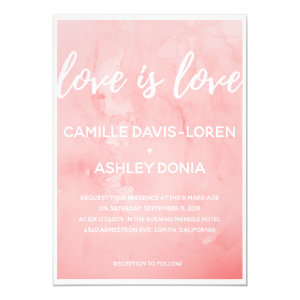 Lesbian Wedding Invitation 'Love is Love-Pink'