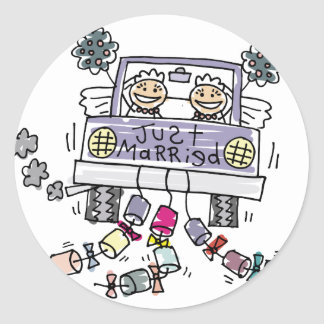 Lesbian Wedding Just Married Round Stickers
