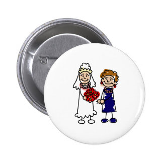 Lesbian Wedding One Bride Pinback Button