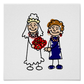 Lesbian Wedding One Bride Poster