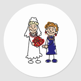 Lesbian Wedding One Bride Classic Round Sticker