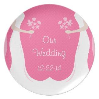 Lesbian Wedding Personalized Plate
