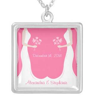 Lesbian Wedding Personalized Silver Plated Necklace