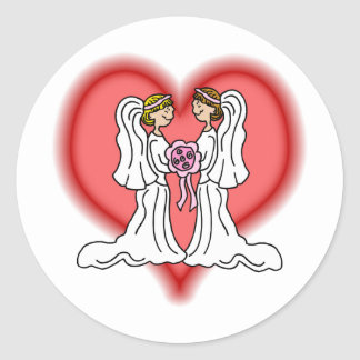 Lesbian Wedding Classic Round Sticker