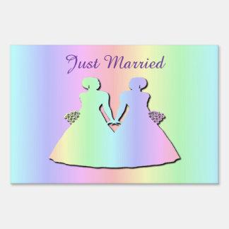 Lesbian Wedding Yard Sign Rainbow Just Married