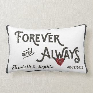 Lesbian White Forever Always Heart Personalized Throw Pillows
