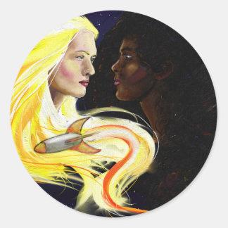 Lesbianas en espacio pegatina redonda