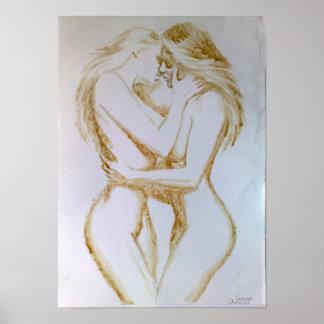 Lesbianas que se besan, pintura del café póster
