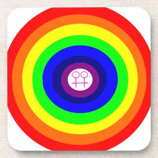 Lesbians Round Rainbow Cork Coaster