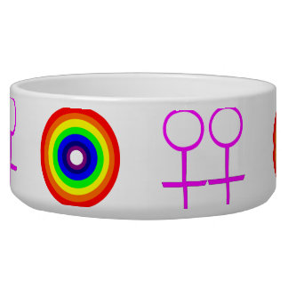 Lesbians Round Rainbow Dog Bowl