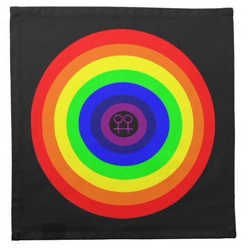 Lesbians Round Rainbow Napkin