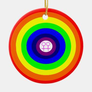 Lesbians Round Rainbow Pendant Christmas Tree Ornaments
