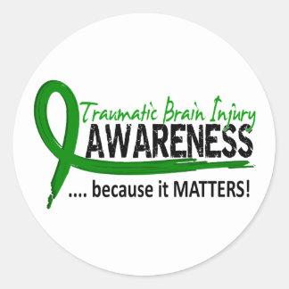 Lesión cerebral traumática TBI de la conciencia 2 Pegatina Redonda