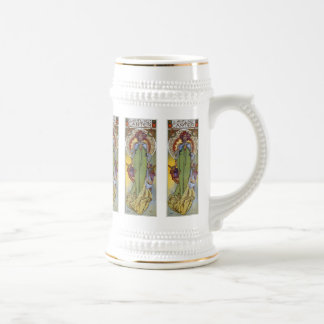 Leslie Carter Vintage Theatre Art by Mucha Beer Stein