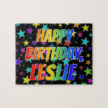 "[ Thumbnail: ""Leslie"" First Name, Fun ""Happy Birthday"" Jigsaw Puzzle ]"