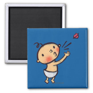 Leslie Patricelli Blow a Kiss Baby 2 Inch Square Magnet