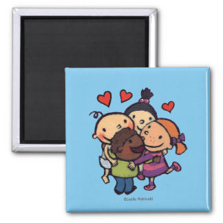 Leslie Patricelli Group Hug with Friends 2 Inch Square Magnet
