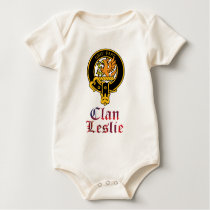Leslie scottish crest and tartan clan name baby bodysuit