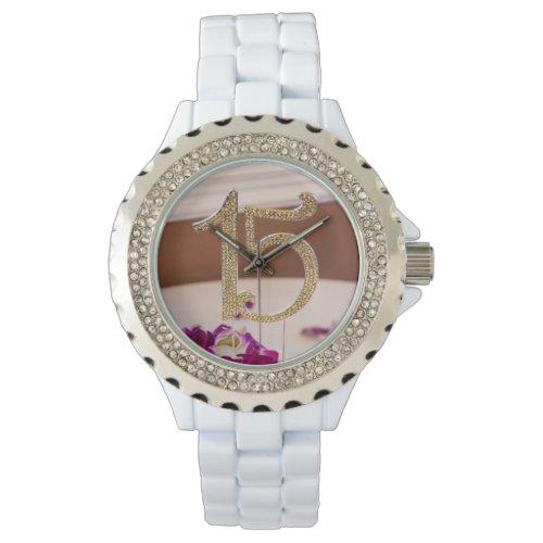Leslie's Quinceanera Rhinestone White Enamel Watch