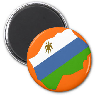 Lesotho flag map 2 inch round magnet